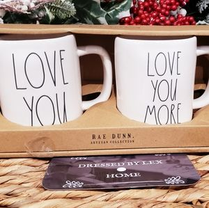 NWT HTF Rae Dunn LOVE YOU LOVE YOU MORE Mug Set